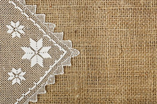 half-covered burlap with handmade doily for backgrounds