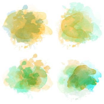 Watercolor stains set isolated on white background. Vector