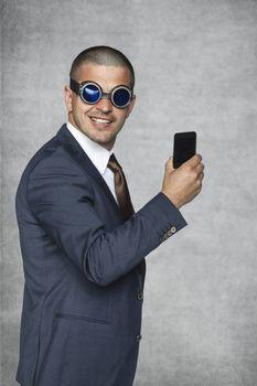 Businessman presents new phone