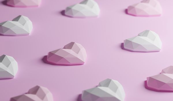 geometric configuration group of pink heart shaped isolated on sweet pastel pink color, side view. romantic valentine day background, 3d rendering