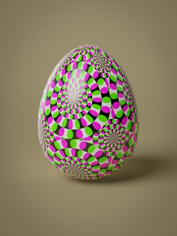 A egg with optical illusion movement pattern isolated 3D illustration