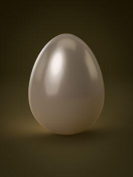 A shiny white egg isolated 3D illustration