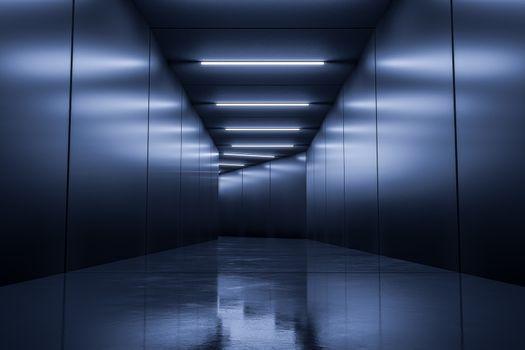 A typical underground corridor background 3d illustration
