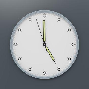a clock shows five o'clock 3d illustration