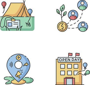 Event organization RGB color icons set