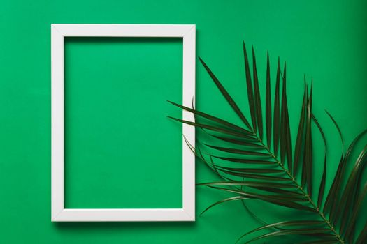 Branches of green palm leaves on green background with white photo frame. Ecology and Summer Frame Concept. Flat lay. Blank Space
