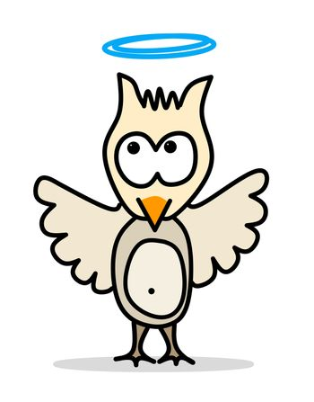 comic character small owl with blue halo