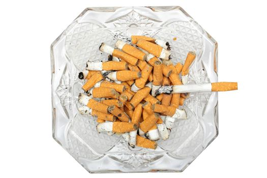ashtray with burning cigarette and butts isolated