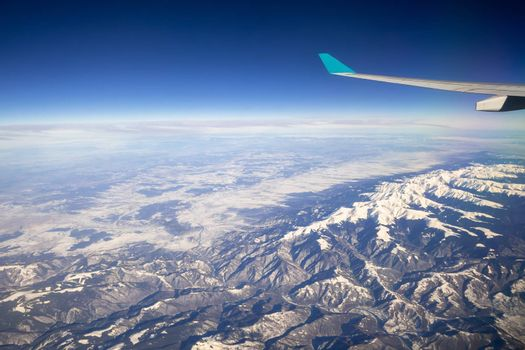 An image of a flight over Asia Alps