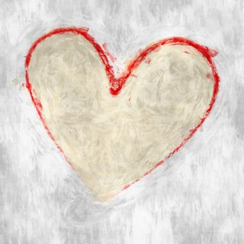 roughly painted red heart on white