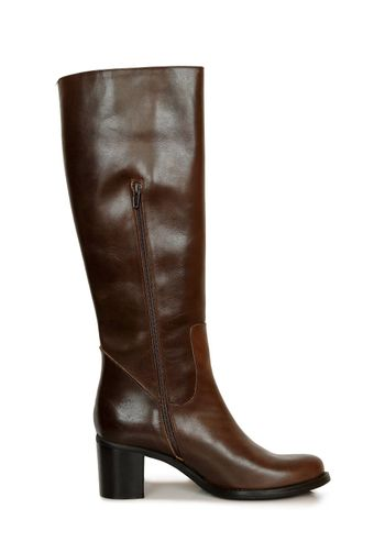 single brown leather boot on white