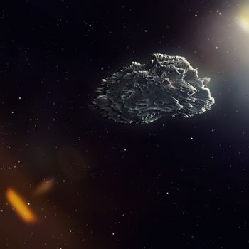 A meteorite in the deep space with sun flare 3d illustration