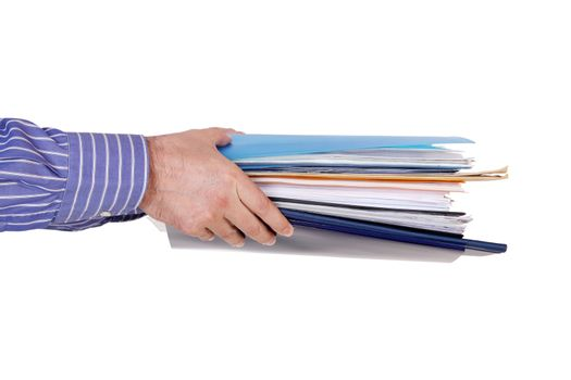 hands with files and folders on white