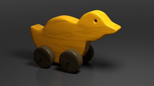 A typical wooden toy duck 3D illustration
