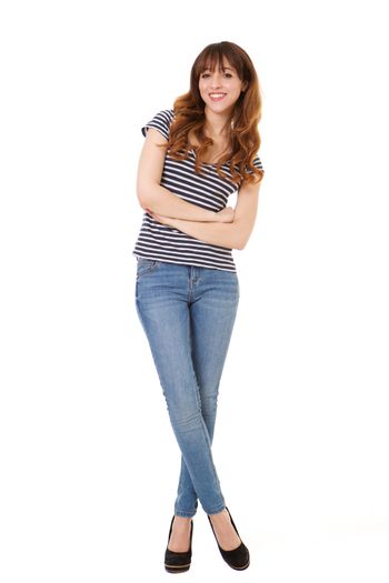 Full body young woman smiling against isolated white background