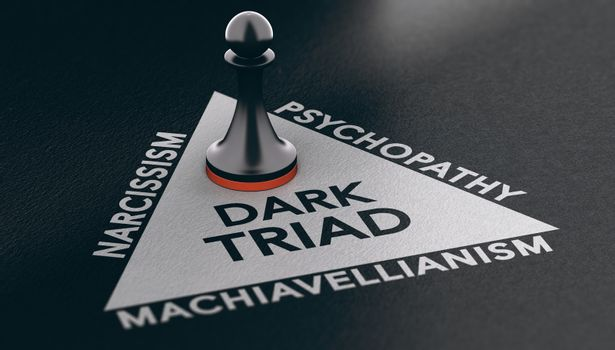 Psychology concept. Dark triad, anti-social personality traits.