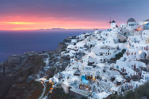 Landscape of beautiful world famous  village of Oia, just after sunset, Santorini, Greece