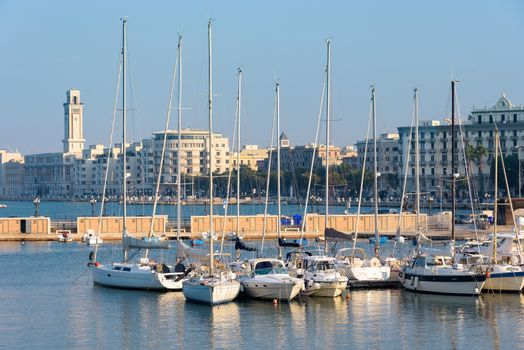 Panoramic view of the port of Bari, Apulia, Italy