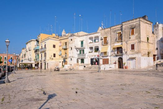 Vintage architecture of Piazza Ferrarese in the center of Bari, Apulia, Italy