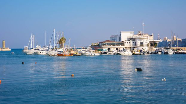 Panoramic view of port in Bari, the capital city of Apulia region in southern Italy