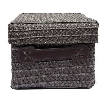 Brown wicker box isolated on white background with clipping path