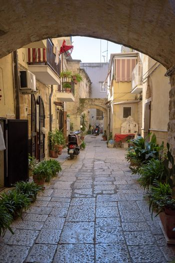 gate to the backyard in the old town of Bari, Apulia, Italy