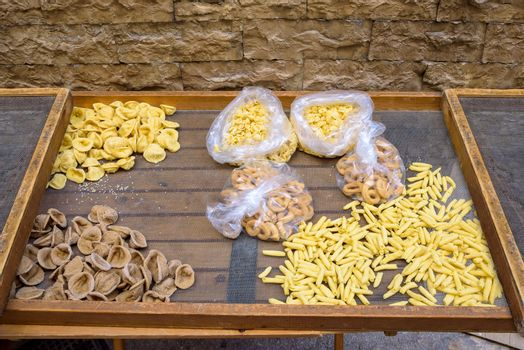 Traditional homemade pasta on the streets of the old town of Bari, Apulia, Italy