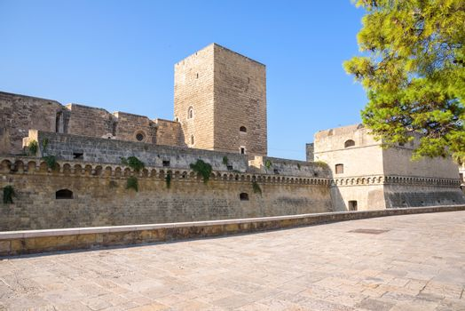 Western ramparts of the Norman Castle in Bari, Apulia, Italy