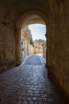 Via Duomo street leading to Piazza del Duomi in Matera, Basilicata, Italy