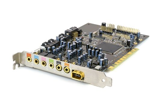 7 channel computer sound card isolated on white background with clipping path