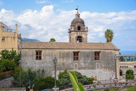 View of church of San Pancrazio in Taormina, Sicily, Italy