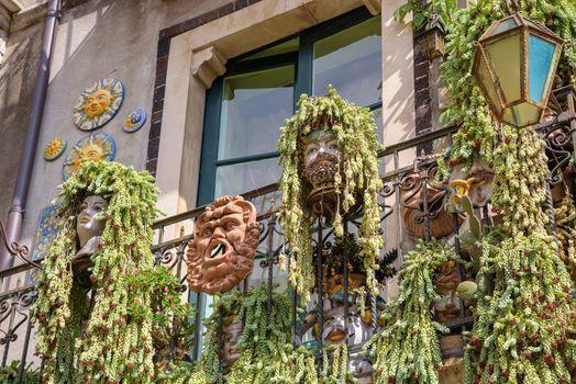 Characteristic balcony decorations in Taormina, Sicily, Italy