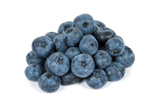 Heap of blueberries isolated on white background with clipping path
