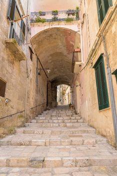 Narrow street in the Sassi of Matera, Basilicata, Italy