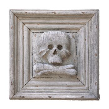 Wooden skull isolated on white background with clipping path