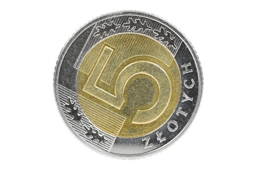 Closeup of 5 polish zloty coin isolated on white background with clipping path