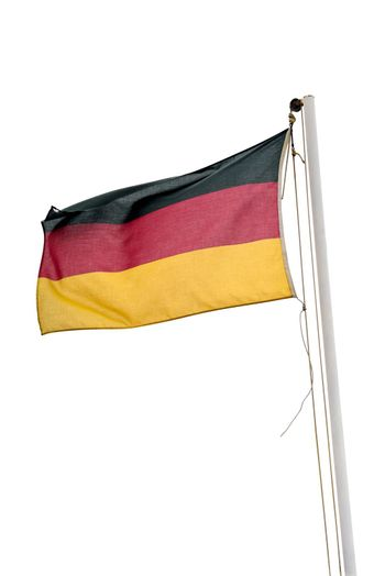 Waving german flag isolated on white background with clipping path