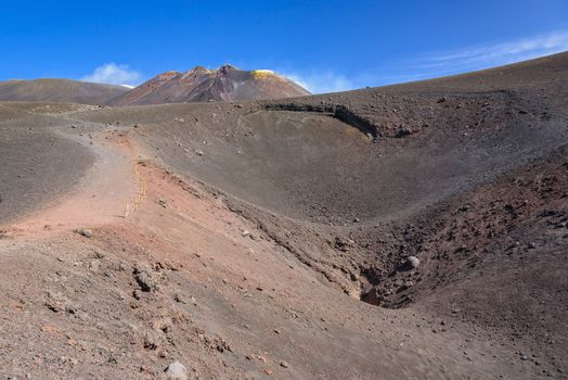 Crater of Etna created by eruption in 2002, Sicily, Itlay