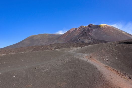 Path around the Mount Etna crater, Sicily, Italy