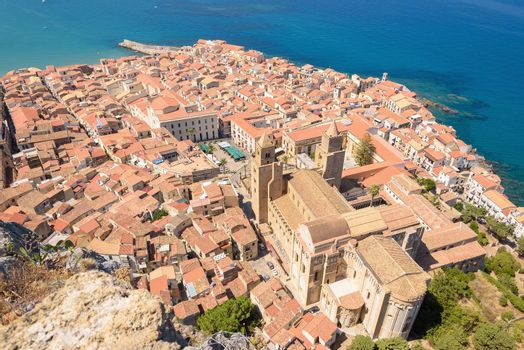 Aerial view of the Cefalu old town, Sicily, Italy