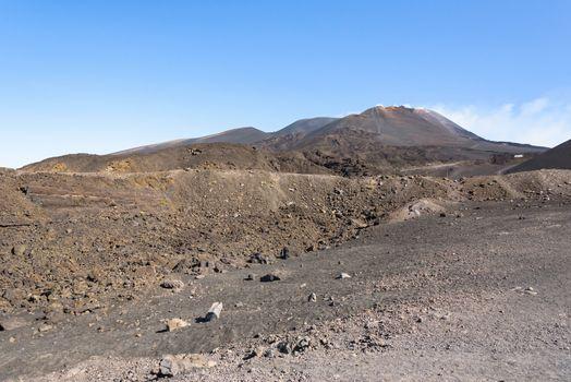 Lunar landscape of the Mount Etna, Sicily, Italy