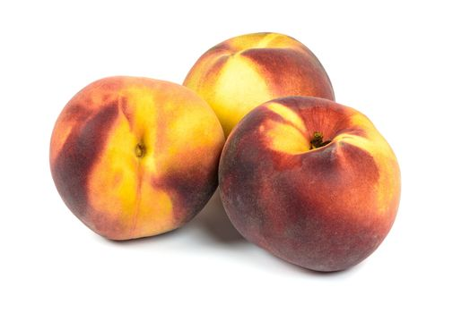 Ripe peaches isolated on white background with clipping path