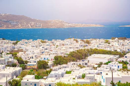 View of traditional greek village with white houses on Mykonos Island, Greece, Europe