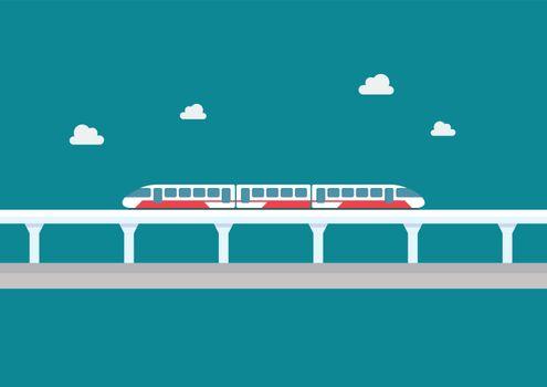 Skytrain transportation in flat style