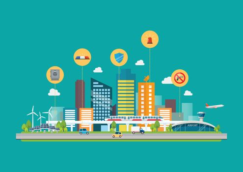 CCityscape with Infrastructure Transportation and security icons. Vector illustration