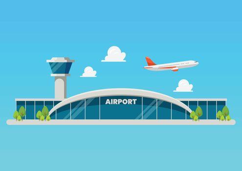 Airport building flat style illustration. Vector illustration