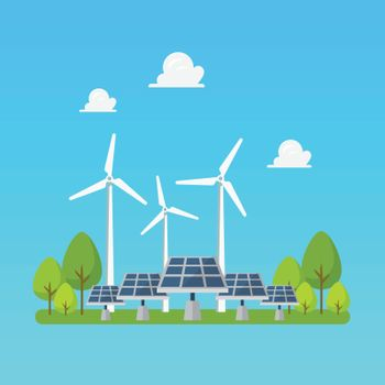 Green energy windmills and solar panels. Flat style Vector illustration.
