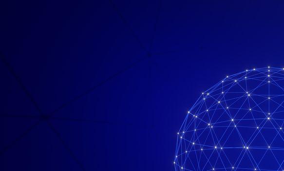 Network connection dots and lines on dark blue gradation background. Technology background. Plexus. Big data background. 3d rendering.