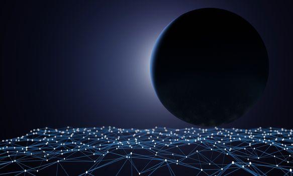 Big Sphere on Network connection dots and lines. Dark blue gradation background. Technology background. Plexus. Big data background. 3d rendering.