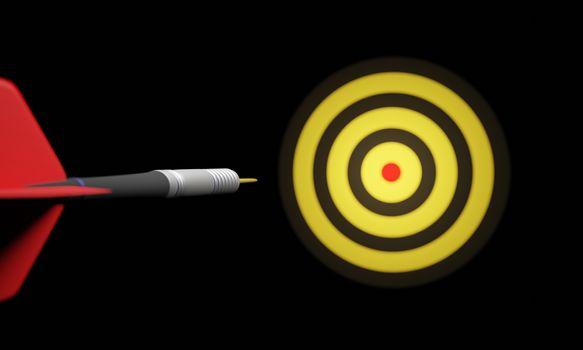Arrow hitting in the target center of bullseye for Business focus concept,  Modern style. 3D rendering.